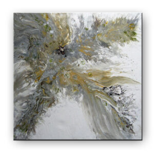 Abstract painting appears to show Goddess of Light sitting on her thrown, or a phoenix taking flight.