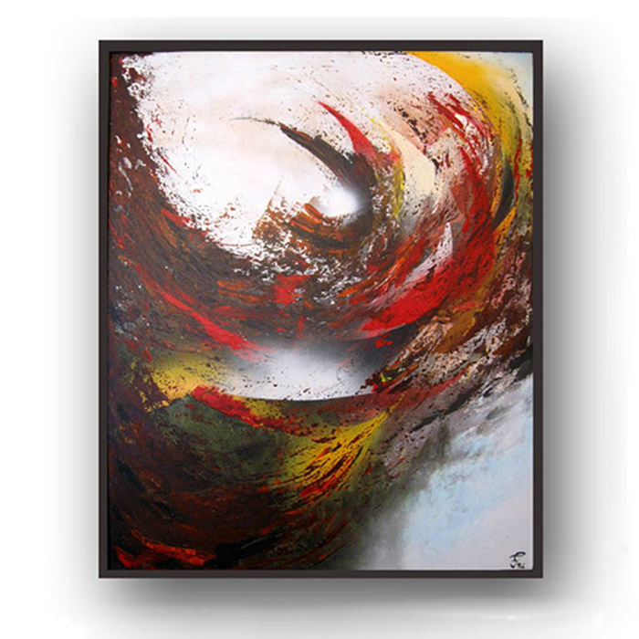 Abstract painting which takes on a new spirit with different hues of lighting.